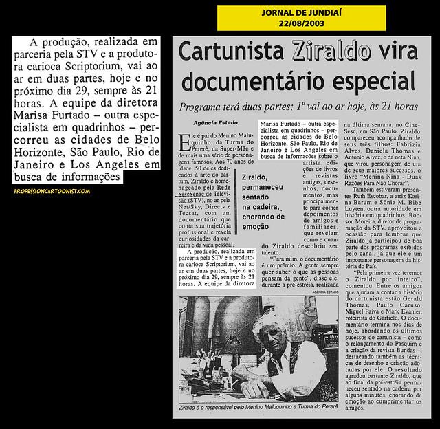 """""""Cartunista Ziraldo vira documentário especial"""" - Jornal de Jundiaí - 22/08/2003"""