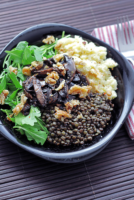 Couscous, Rocket, Mushrooms and Lentils