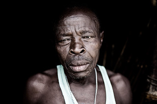 Displaced man at the doorstep of his house - DR CONGO -