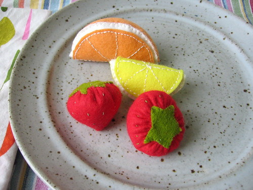 Felt citrus and strawberries