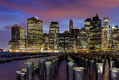 Manhattan from Brooklyn (Jim Boud) Tags: longexposure sunset newyork reflection water skyline brooklyn night buildings landscape evening colorful downtown cityscape skyscrapers nightshot dusk manhattan piers brooklynheights hudsonriver lightroom artisticphotography jimboud canoneos60d jamesboud canonefs1585mmf3556isusm canon1585mm
