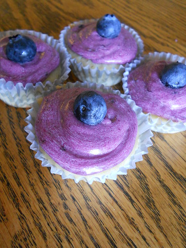Lemon cupcakes with blueberry frosting