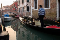 P9242668 Italy Venice (Dave Curtis) Tags: 2013 em5 europe italy omd olympus venice gondola gondolier reflection