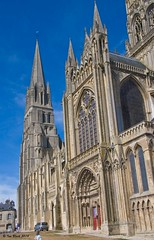 Old and new stone (ianhb) Tags: france bayeux cathedral gothic stone