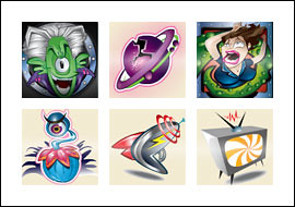 free Green Meanies slot game symbols