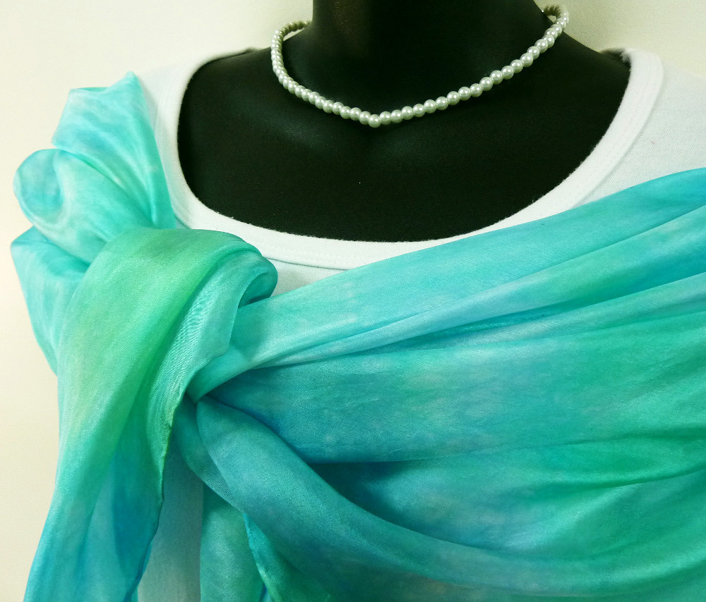 Hand painted blue silk scarf