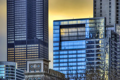 Cross Section of Chicago (Mister Joe) Tags: city blue sunset urban chicago detail tower modern buildings nikon downtown cityscape skyscrapers loop sears joe dynamicrange section hdr willis randolph 2011 sectionofchicago