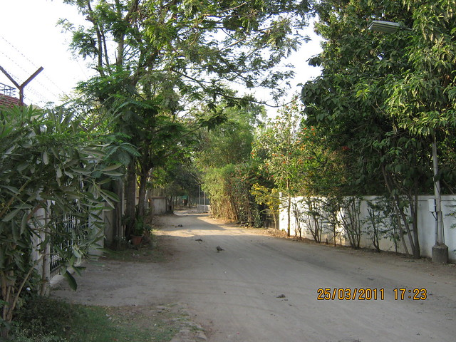 A lane in Prathamesh Park, at Balewadi Phata, Baner Pune. DSK Gandhakosh is behind.
