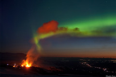 Night Dance - Aurora Borealis vs Volcano Eyjafjallajkull / Fimmvruhls (skarpi - www.skarpi.is) Tags: trip travel orange mountain hot rain night truck volcano lava iceland highlands bravo melting gallery dynamic jeep extreme exhibition national edge devil 5d traveling bomb geo geothermal geographic explosive gos sland rsmrk hella aska hraun markarfljt skyskape eruptingvolcano jkull thorsmork galleri fimmvruhls eyjafjallajkull jokull suurland southiceland eyjafjallajokull skarphinn eyjafjll jeppafer hvolsvllur volcanoisland eldgos eyjafjoll skarpi hvolsvollur highlandsoficeland extremesky jarhiti kattarhryggir varmi tignguhfi photosfromiceland eldst traveliceland eruptionsiniceland skarphinnrinsson volcanoiniceland volcanoineyjafjallajokull volcanoineyjafjallajkull centralhighlandsiceland copyrightskarphinnrinsson