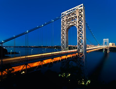 The George Washington Bridge, New York City (mudpig) Tags: nyc newyorkcity longexposure bridge newyork night geotagged newjersey traffic dusk manhattan nj gothamist bluehour georgewashington hdr gwb fortlee georgewashingtonbridge washingtonheights lighttrail mudpig stevekelley