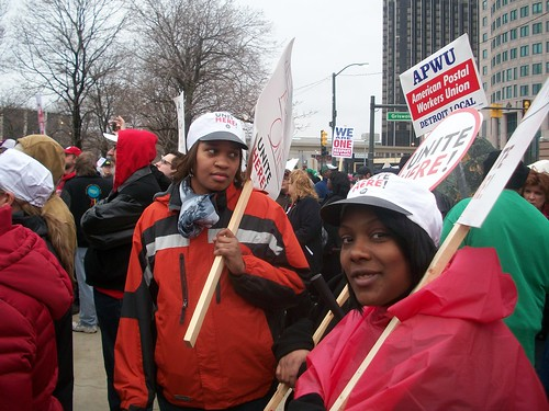 Unionists rally and march in downtown Detroit on April 4, 2011 commemorating the 43rd anniversary of the martyrdom of Dr. Martin Luther King, Jr. Demonstrations took place in one thousand locations across the U.S. (Photo: Abayomi Azikiwe) by Pan-African News Wire File Photos