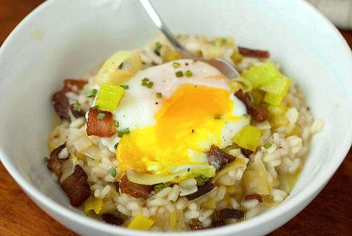 Bacon Leek Risotto with a poached egg