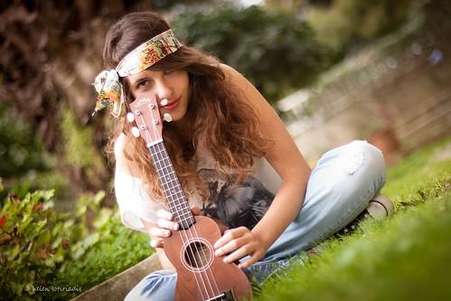 sunset hippie with ukelele