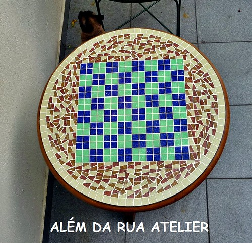 Mesa de Mosaico - Tabuleiro de damas e xadrez