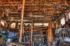 Where Old Chainsaws Go To Die (ZannWalker) Tags: arizona abandoned paintshop gold town photo junk nikon mine king small ghost engine chainsaw az repair pro jerome 28300mm topaz x3 photomatix d700