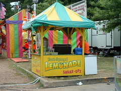 Fresh Squeezed Lemonade Shake-Ups Stand. (dccradio) Tags: carnival trees food game tree wisconsin festive fun stand cloudy drink beverage overcast lemonade entertainment snack junkfood greenery midway countyfair wi foodstand wausau carnivalgame fairfood wisconsinvalleyfair marathoncounty concessionsstand shakeups marathonpark wausauwi farrowshows