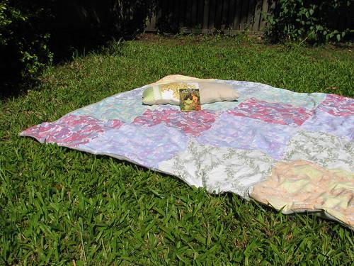 vintage sheet picnic rug