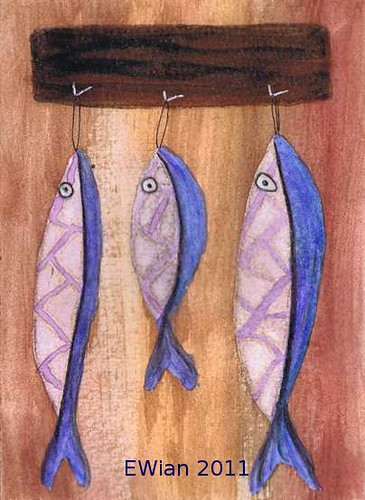 three little fishes hanging in a row 11