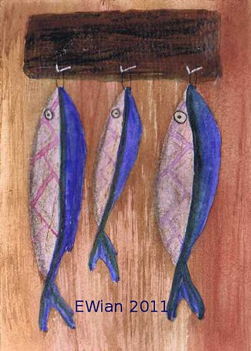 three little fishes hanging in a row 3