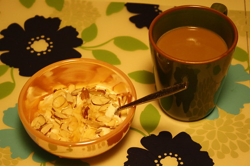 Chobani non-fat plain with honey, almonds, coffee
