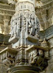 Detailed Pillar (Radicaladam) Tags: india building beautiful stone architecture contrast temple amazing patterns statues grand carving temples marble exquisite pillars majestic incredible figures jain rajasthan ranakpur detailed intricate jainism adinatha