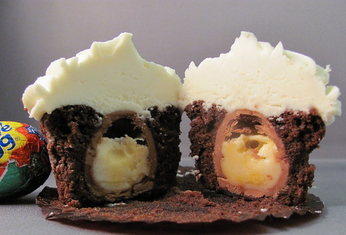 Inside of Creme Egg Cupcake