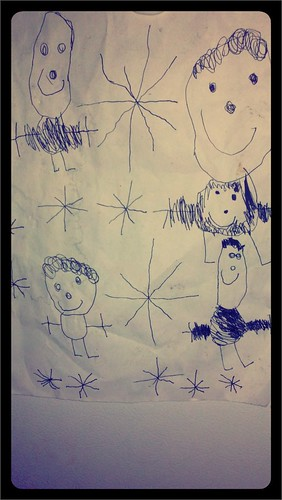 Our family portrait by Judah, 4 years old. I love how Ari is a big smiley face in my tummy :)