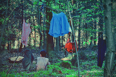 (laura zalenga) Tags: woman tree green nature girl strange leaves forest back branch dress skin bare skirt clothes hanging cloth sittung laurazalenga
