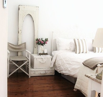 white suitcases bedside