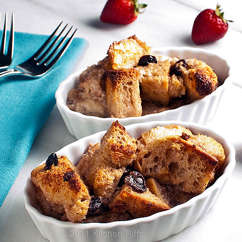 2 individual servings of bread pudding in serving dishes