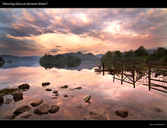 """Morning Glory @ Derwent Water"" (awhyu) Tags: morning sky lake water clouds fence reflections landscape rocks stones district glory derwent cumbria keswick"