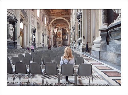 vrouw in kerk by hans van egdom