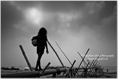 Seeking for water,Seeking for Life ! (Ehtesham Khaled [www.ehteshamkhaled.com]) Tags: camera bw cloud sun white black art river lens nikon media ray walk horizon bamboo step pip jar dhaka khaled ehtesham bangladesh bangla advertise bangali banga megh kolosh maowa sham619 gettyimagesbangladeshq3