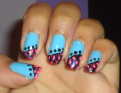 By: Cíntia Barreto ** (Cíntiav_b) Tags: art azul rosa preto nails desenho unhas unha francesinha decoradas decorada