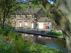 Through the trees (jrw080578) Tags: trees buildings reflections canal yorkshire huddersfieldnarrowcanal