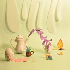 Subterfugio doméstico (C-ci) Tags: ceramica paper mixed media teapot papel fuego cuteness liquido composición