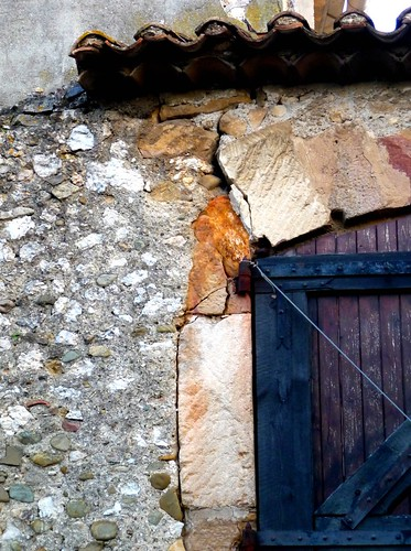 barn door and stone details