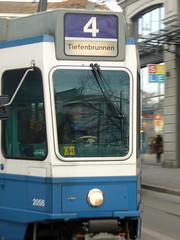Zurich (Sarf London) Tags: zurich tram blueandwhite tiefenbrunnen