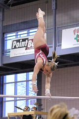 TWU Gymnastics [Bars] Brittany Montalbano (Erin Costa) Tags: college illinois bars brittany university texas state tx womens swing gymnast gymnastics stick ncaa twu uneven womans centenary dismount montalbano usag twugymnastics