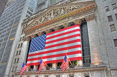 US Flag at New York Stock Exchange (NYSE) in New York (b80399) Tags: red usa white newyork money colors proud america us colours district flag country stock bank patriotic pride national trading wallstreet patriotism financial exchange banking nyse nationalism libertystatue