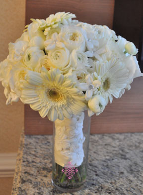 Bridal Bouquet of White gerberas, David Austin roses, ranunculus and stephanotis
