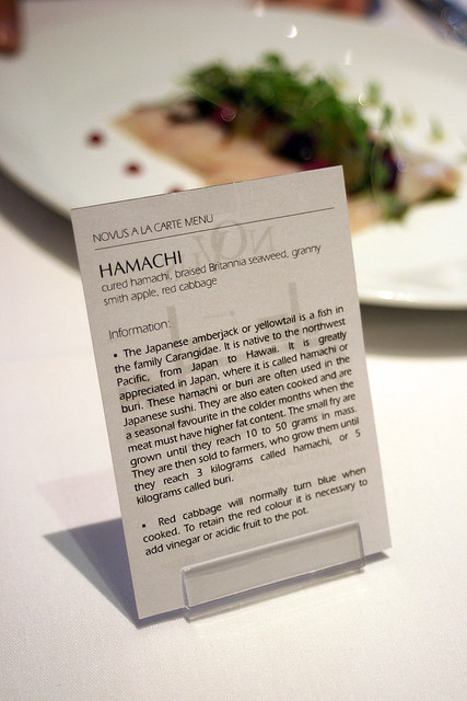 I love how each dish comes with a little description and trivia card