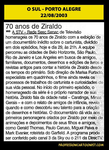 """""""70 anos de Ziraldo"""" - O Sul - 22/08/2003"""
