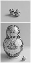 matryoshka II (SarahLaBu) Tags: bw white black diptych doll matryoshka nestingdoll stackingdoll sarahlabu