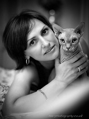 Laris and Sphynx (cat) (see-photography.co.uk) Tags: family wedding light portrait blackandwhite bw woman white black beautiful lady cat canon photography 50mm photo nice eyes mood image photos gorgeous joy images east newborn 5d canon5d sphynx bromley  canon50mmf14 50f14 photographerlondon  whysoserious photographersouth  photographykate photographerkent photographeruk shumilova  photographerkate