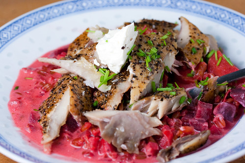 Smoked Mackerel and Beetroot Speltotto