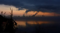 Pastels of Progress (Jason Griffith) Tags: sky cloud plant jason reflection water port sunrise river mississippi rouge dawn louisiana allen steam griffith refinery baton exxon cooling