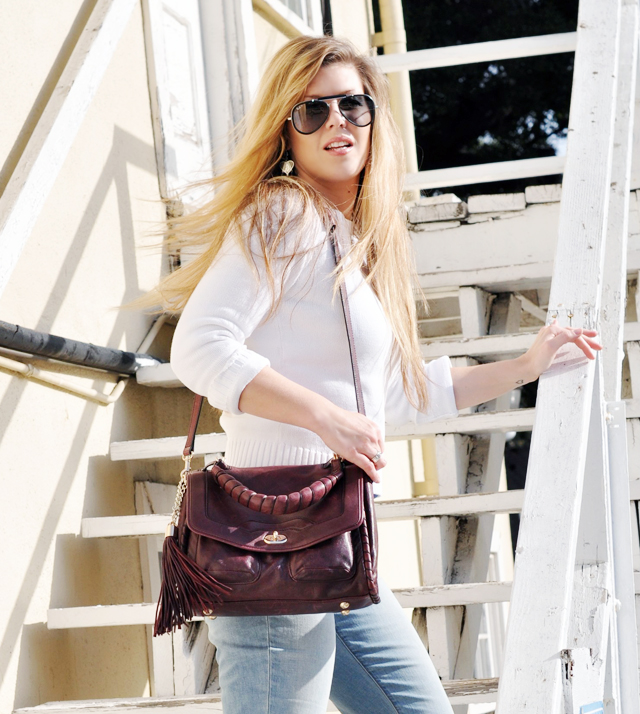ray bans, ray ban sunglasses, aviator sunglasses, white stweater and jeans, joe's jeans, cynthia rowley bag, burgundy bag, bag with tassels, DSC_0107