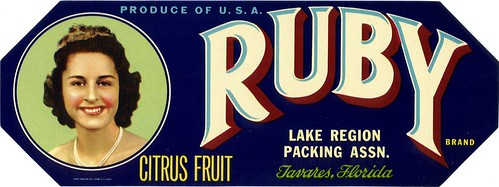 Ruby Citrus Fruit Crate Label by clotho98