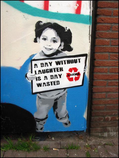 Amsterdam stencil streetart - Karma